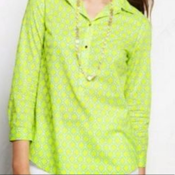 Lands End Popover Yellow Blouse